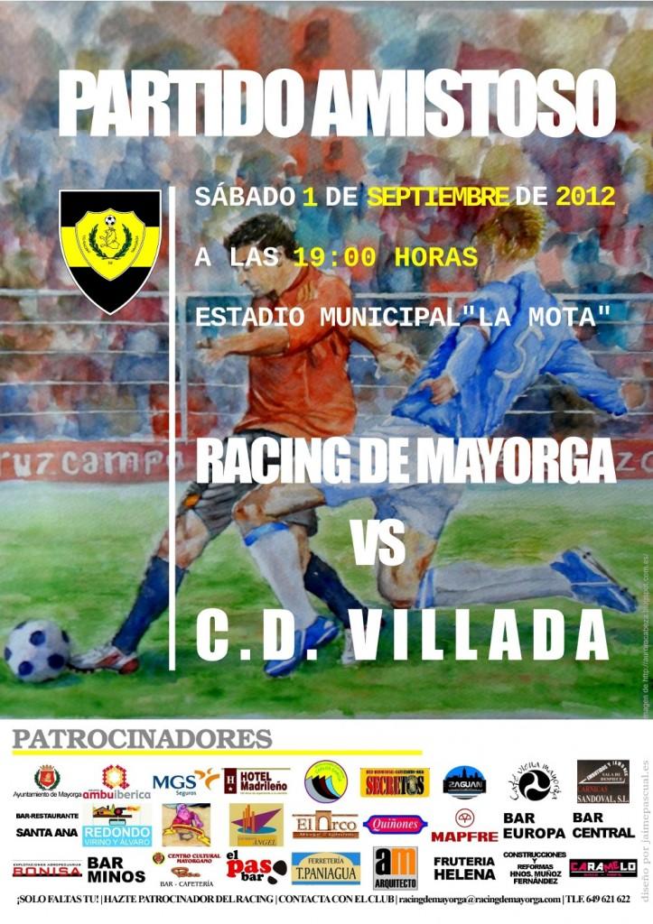 Cartel partido amistoso Racing de Mayorga contra Villada