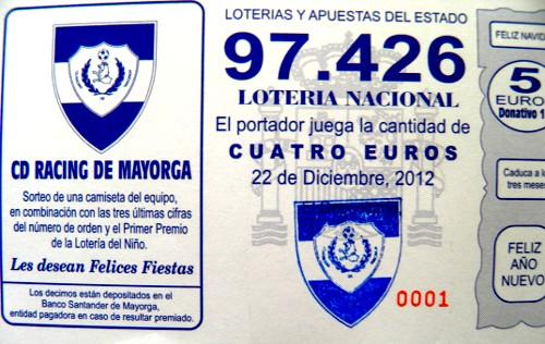 Participación de lotería para el 2012