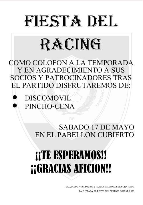 Cartel fiesta Racing Mayorga 2014