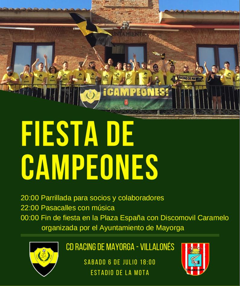 Cartel de fiesta de campeones 2019